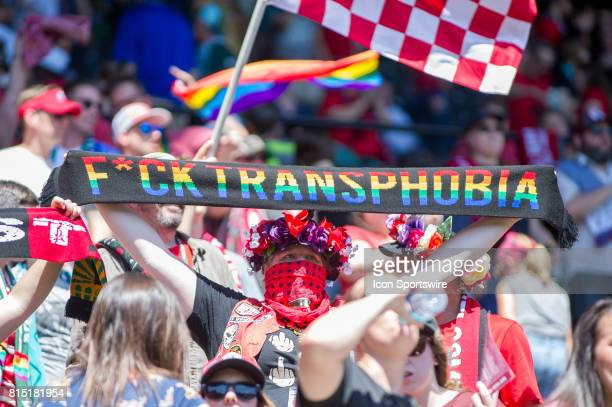 Portland Thorns fans never afraid of showing their inclusive agenda celebrate their team's victory after the Portland Thorns 10 vicotry over the...