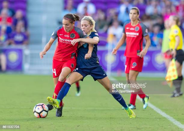 Portland Thorns FC defender Emily Menges and North Carolina Courage midfielder Denise OSullivan fight for possession during the NWSL soccer...