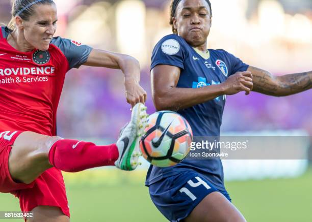 Portland Thorns FC defender Katherine Reynolds clears a near goal during the NWSL soccer Championship match between the North Carolina Courage and...