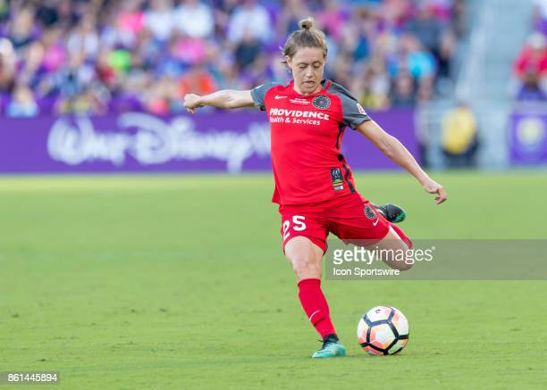 Portland Thorns FC defender Meghan Klingenberg crosses the ball during the NWSL soccer Championship match between the North Carolina Courage and...