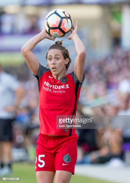 Portland Thorns FC defender Meghan Klingenberg throws in the ball during the NWSL soccer Championship match between the North Carolina Courage and...