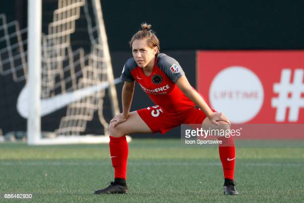 Portland Thorns FC defender Meghan Klingenberg waits for play to resume during an NWSL regular season match between the Boston Breakers and Portland...