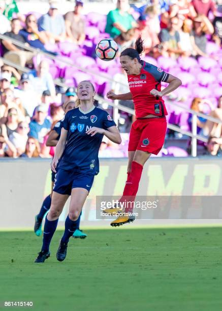 Portland Thorns FC forward Christine Sinclair goes up for a header during the NWSL soccer Championship match between the North Carolina Courage and...