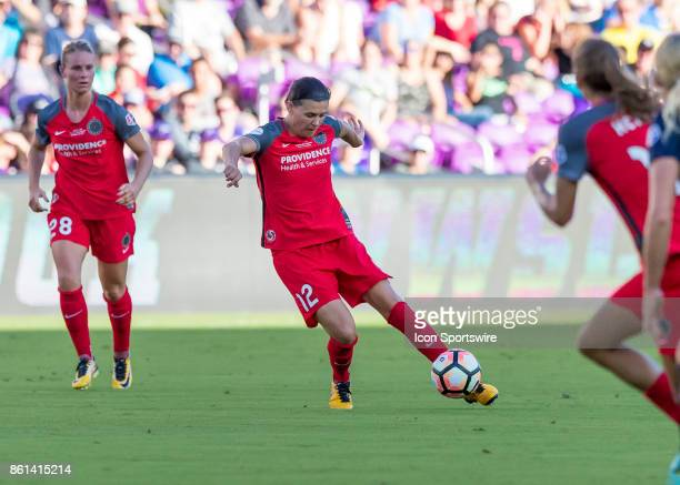 Portland Thorns FC forward Christine Sinclair passes the ball during the NWSL soccer Championship match between the North Carolina Courage and...