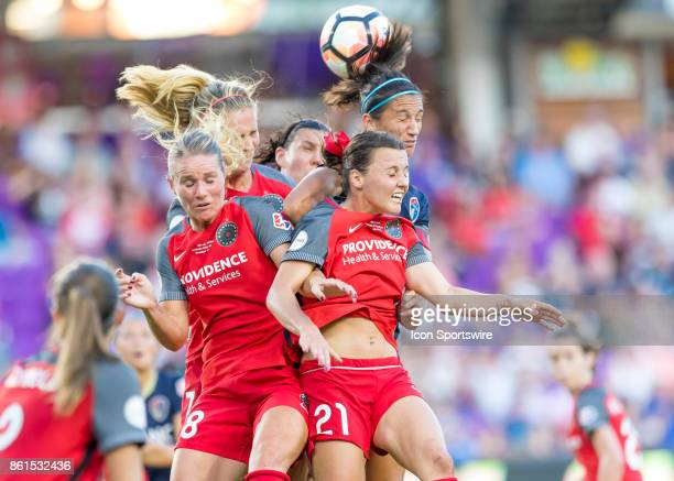 Portland Thorns FC forward Hayley Raso along with several team mates challenge for a header during the NWSL soccer Championship match between the...