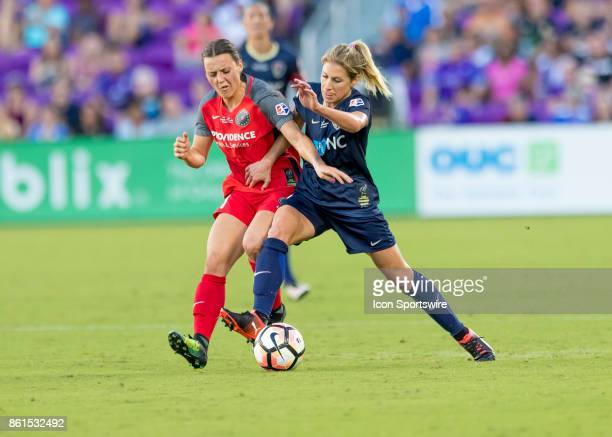 Portland Thorns FC forward Hayley Raso fight for possession during the NWSL soccer Championship match between the North Carolina Courage and Portland...