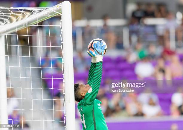 Portland Thorns FC goalkeeper Adrianna Franch stretches for goal save in the closing minutes during the NWSL soccer Championship match between the...