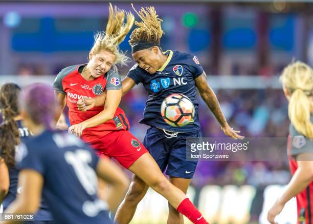 Portland Thorns FC midfielder Allie Long challenges for a header during the NWSL soccer Championship match between the North Carolina Courage and...