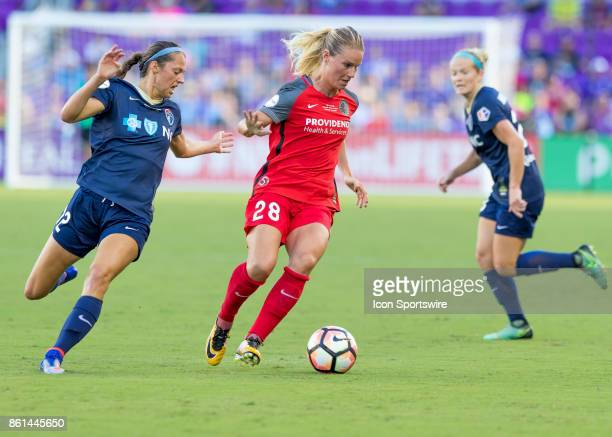 Portland Thorns FC midfielder Amandine Henry looks to pass the ball during the NWSL soccer Championship match between the North Carolina Courage and...