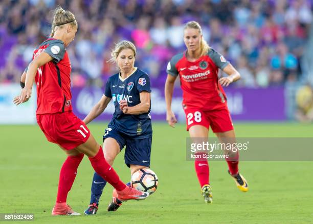 Portland Thorns FC midfielder Dagny Brynjarsdottir clears the ball during the NWSL soccer Championship match between the North Carolina Courage and...