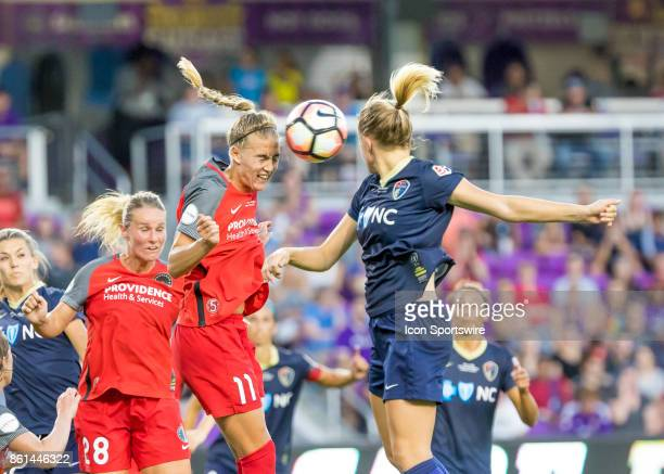 Portland Thorns FC midfielder Dagny Brynjarsdottir heads the ball one a corner kick during the NWSL soccer Championship match between the North...