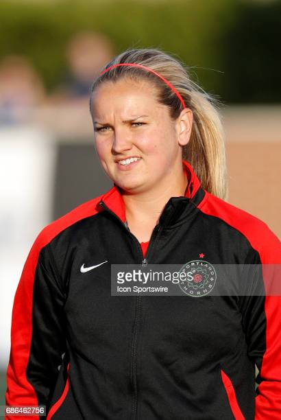 Portland Thorns FC midfielder Lindsey Horan during introductions before an NWSL regular season match between the Boston Breakers and Portland Thorns...