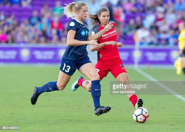 Portland Thorns FC midfielder Tobin Heath vs North Carolina Courage defender Abby Dahlkemper challenges for possession during the NWSL soccer...