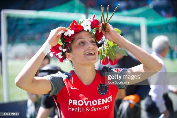 Portland Thorns forward Nadia Nadim celebrated by the fans after the Portland Thorns win over the Orlando Pride 20 at on on April 15th at Providence...