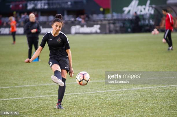 Portland Thorns forward Nadia Nadim during warm ups prior to the preseason match between the Portland Thorns and the Houston Dash on April 01 at...