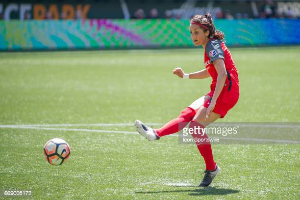 Portland Thorns forward Nadia Nadim takes the penalty kick that results on the first goal during the Orlando Pride 20 loss at the Portland Thornson...