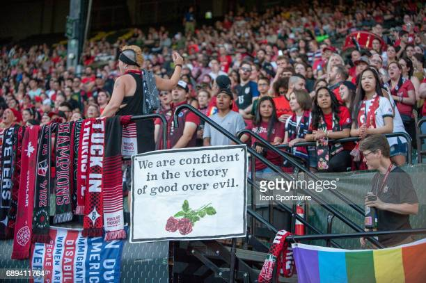Portland Thorns supporters group The Riveters show a message related to the violents acts of May 26 where three people where stab in a light rail...