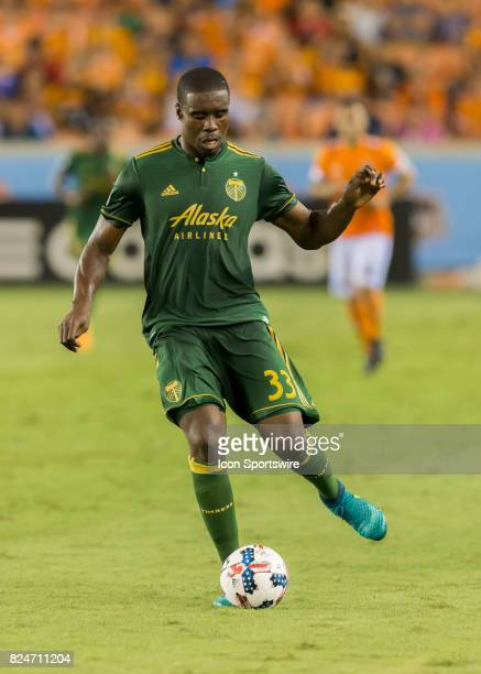 Portland Timbers defender Larrys Mabiala traps the ball during the MLS match between the Portland Timbers and Houston Dynamo on July 29 2017 at BBVA...