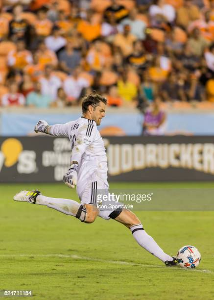 Portland Timbers goalkeeper Jake Gleeson sends the ball into play during the MLS match between the Portland Timbers and Houston Dynamo on July 29...
