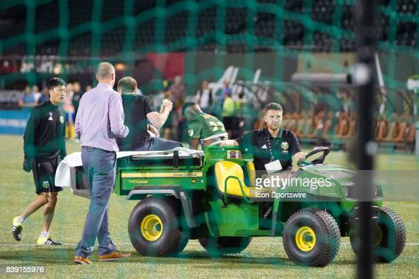 Portland Timbers owner Merritt Paulson checks on the situation of midfielder Dairon Asprilla as he is tended by the medics after the end of the...