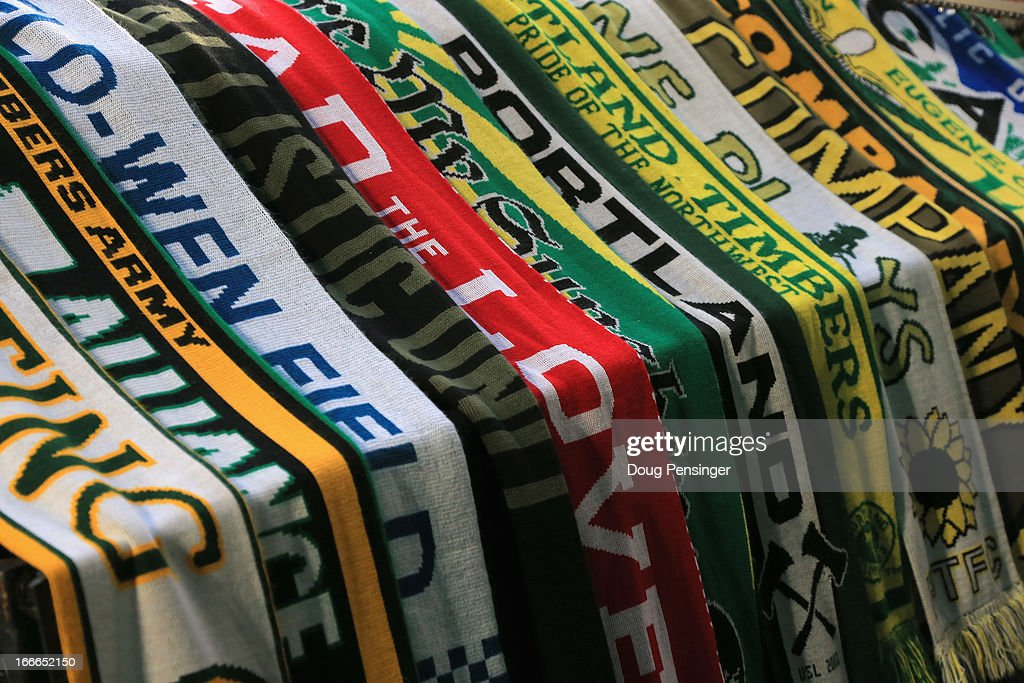 Portland Timbers supports scarves are draped over Timber Joey's log as the Portland Timbers face the San Jose Earthquakesat JELD-WEN Field on April 14, 2013 in Portland, Oregon. The Timbers defeated the Earthquakes 1-0.