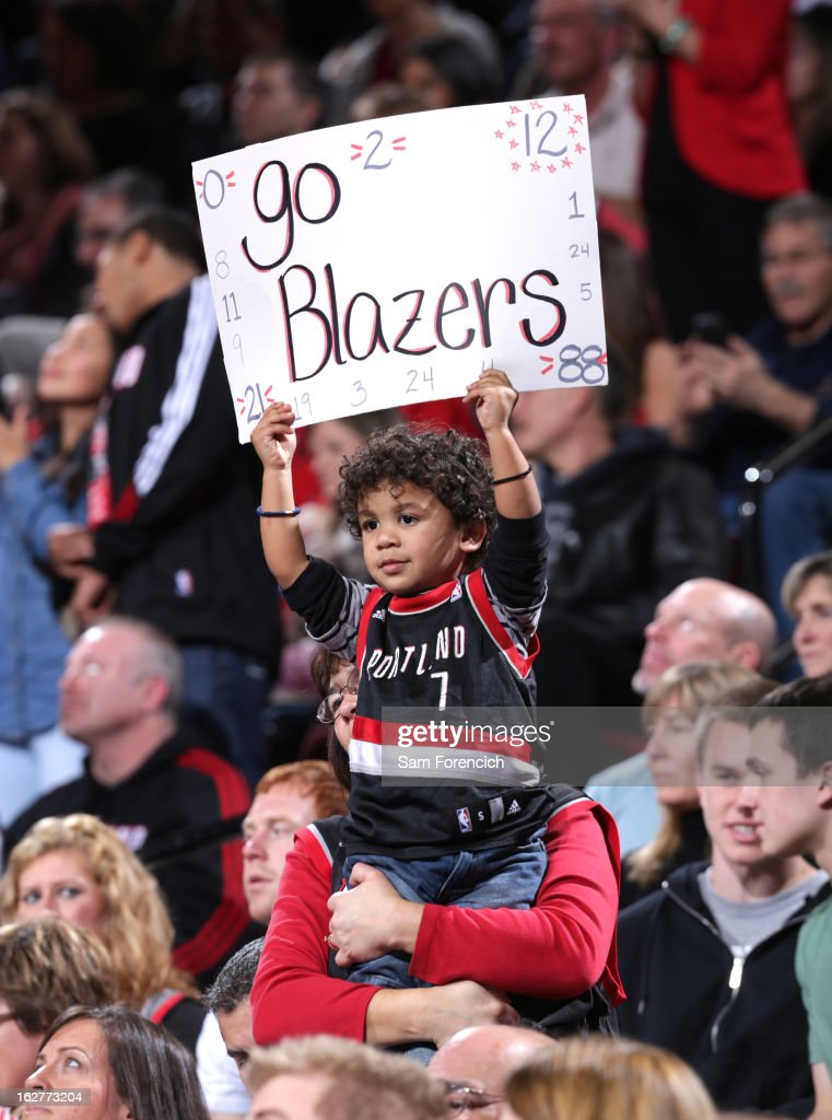 A Portland Trail Blazer fan holds up a sign during the game against the Los Angeles Clippers on January 26, 2013 at the Rose Garden Arena in Portland, Oregon.