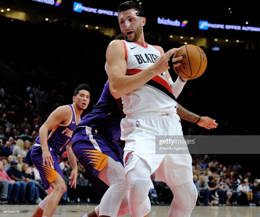 Portland Trail Blazers center Jusuf Nurkic (27) steals the ball during the preseason game against the Phoenix Suns in Portland, Ore., United States, on October 2, 2017.