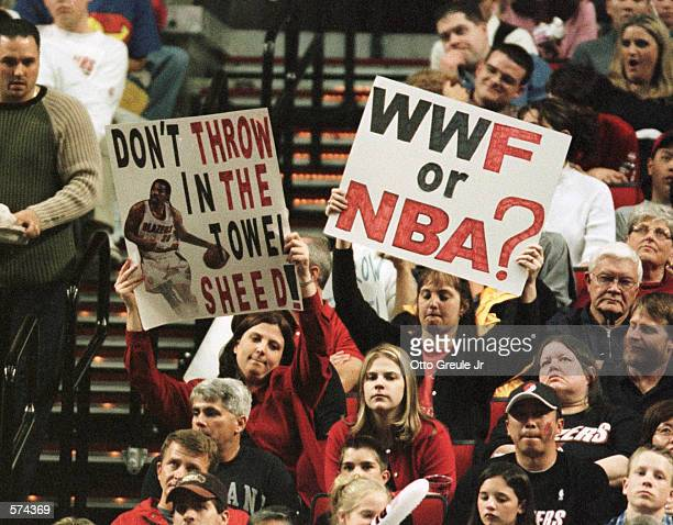 Portland Trail Blazers'' fans hold up signs during second half action in game 3 of the first round Western Conference Playoffs at the Rose Garden in...