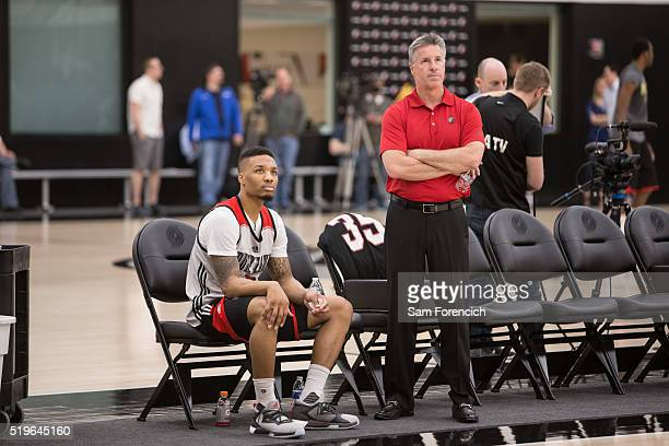 Portland Trail Blazers general manager Neil Olshey and Damian Lillard of the Portland Trail Blazers participate in practice March 30 2016 at the...