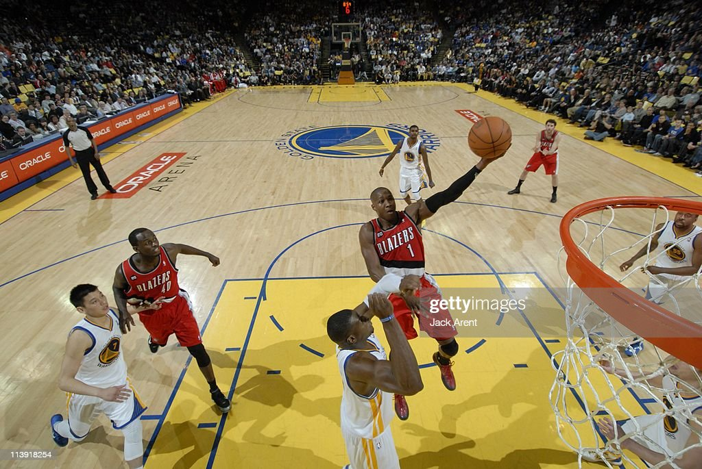 Portland Trail Blazers guard <a gi-track='captionPersonalityLinkClicked' href=/galleries/search?phrase=Armon+Johnson&family=editorial&specificpeople=6530698 ng-click='$event.stopPropagation()'>Armon Johnson</a> #1 goes to the basket during the game against the Golden State Warriors on April 13, 2011 at Oracle Arena in Oakland, California. The Warriors won 110-86.