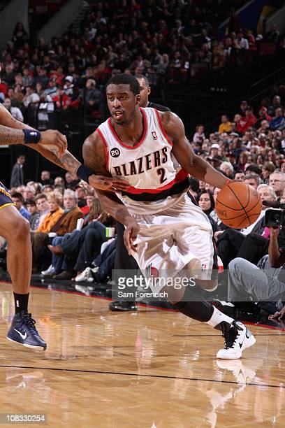 Portland Trail Blazers guard Wesley Matthews drives to the basket during a game against the Indiana Pacers on January 22 2011 at the Rose Garden...
