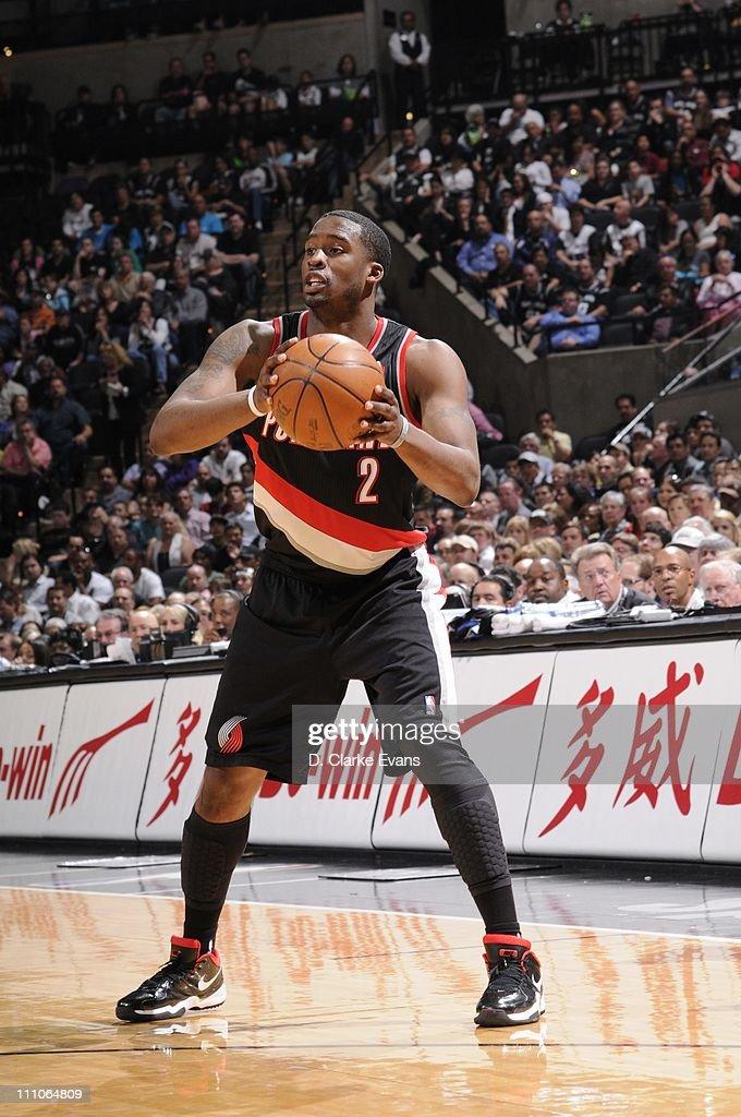 Portland Trail Blazers guard <a gi-track='captionPersonalityLinkClicked' href=/galleries/search?phrase=Wesley+Matthews+-+Basketball+Player&family=editorial&specificpeople=804816 ng-click='$event.stopPropagation()'>Wesley Matthews</a> #2 during the game against the San Antonio Spurs at AT&T Center on March 28, 2011 in San Antonio, Texas. The Trail Blazers won 100-92.