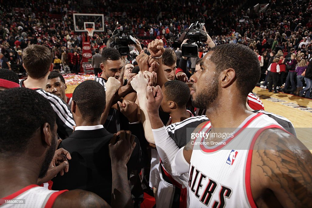 Portland Trail Blazers huddle during the game between the Philadelphia 76ers and the Portland Trail Blazers on December 29, 2012 at the Rose Garden Arena in Portland, Oregon.