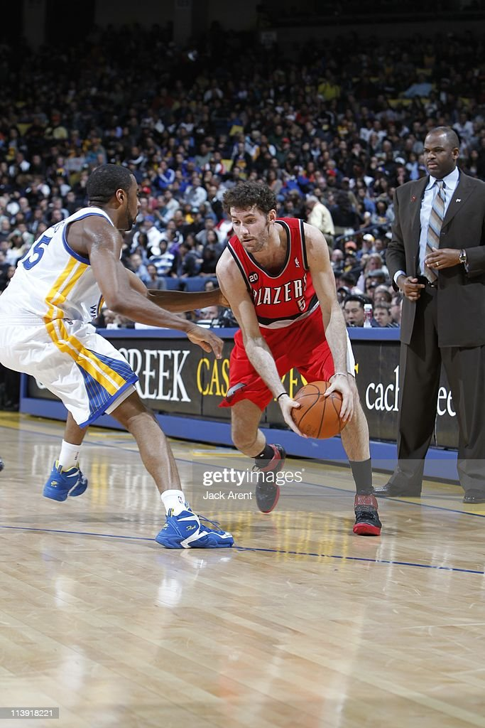 Portland Trail Blazers shooting guard Rudy Fernandez #5 brings the ball up court during the game against the Golden State Warriors on April 13, 2011 at Oracle Arena in Oakland, California. The Warriors won 110-86.