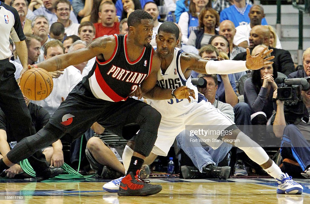 Portland Trail Blazers shooting guard Wesley Matthews (2) tries to drive against Dallas Mavericks shooting guard O.J. Mayo (32) in a basketball game at American Airlines Center Monday, November 5, 2012, in Dallas, Texas.