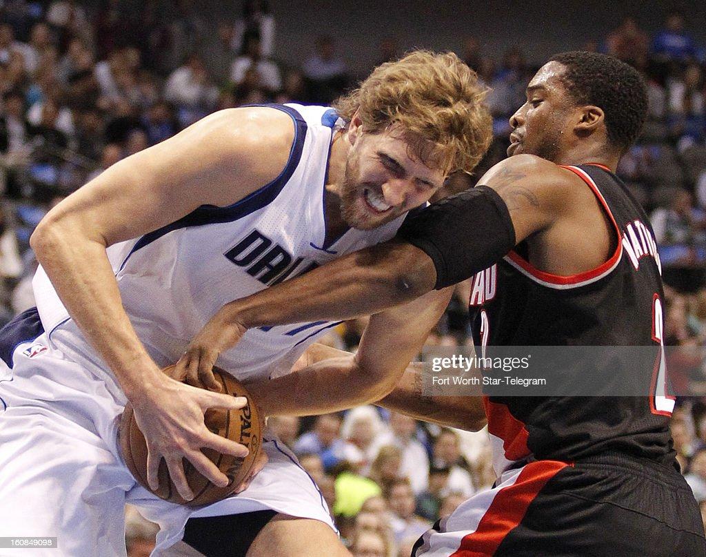 Portland Trail Blazers shooting guard Wesley Matthews (2) tries to stop Dallas Mavericks power forward Dirk Nowitzki (41) during the first quarter in Dallas, Texas, Wednesday, February 6, 2013.