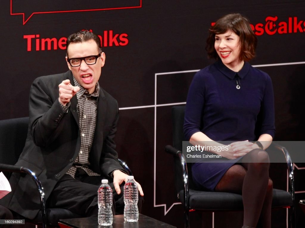 'Portlandia' co-creators/co-writers <a gi-track='captionPersonalityLinkClicked' href=/galleries/search?phrase=Fred+Armisen&family=editorial&specificpeople=221426 ng-click='$event.stopPropagation()'>Fred Armisen</a> and <a gi-track='captionPersonalityLinkClicked' href=/galleries/search?phrase=Carrie+Brownstein&family=editorial&specificpeople=870017 ng-click='$event.stopPropagation()'>Carrie Brownstein</a> attend New York Times TimesTalks Presents: 'Portlandia' at TheTimesCenter on January 28, 2013 in New York City.