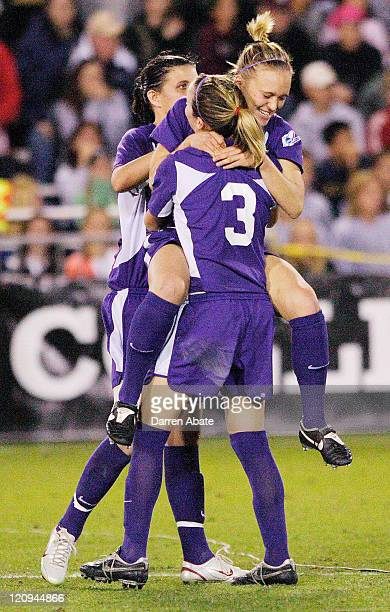 Portland's Colleen Salisbury celebrates with teammates after scoring a shootout goal during the 2005 NCAA Women's College Cup semifinal game between...