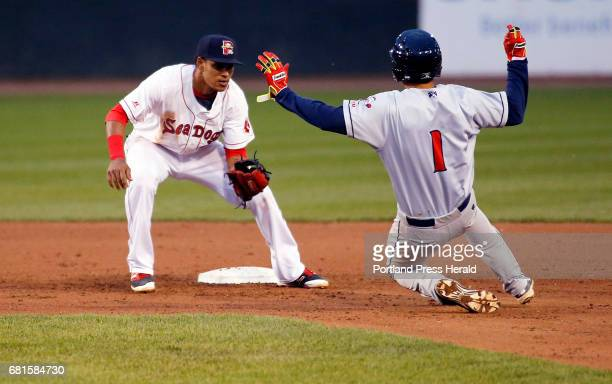 Portland's Deiner Lopez waits to tag Binghamton Rumble Ponies' Jio Mier after an unsuccessful attempt at stealing second base