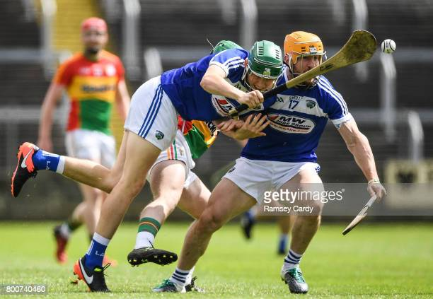 Portlaoise Ireland 25 June 2017 Sean Downey left and Cahir Healy of Laois in action during the GAA Hurling AllIreland Senior Championship Preliminary...