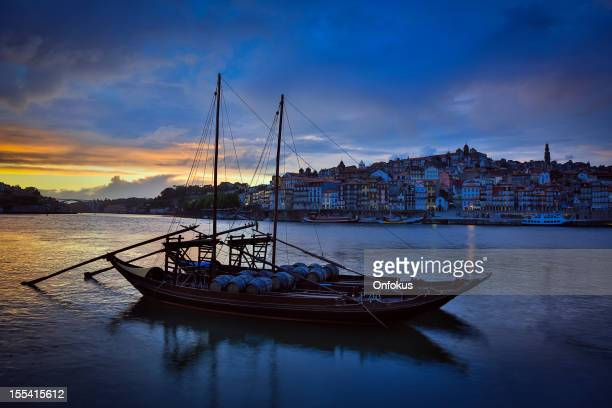 Porto at Sunset with Rabelo Boats on Douro River