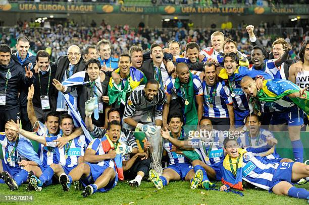Porto celebrate with the trophy after the UEFA Europa League Final between FC Porto and SC Braga at the Dublin Arena on May 18 2011 in Dublin Ireland...