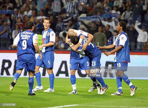 FC Porto celebrates a goal by Hélder Postiga during a match against Maritimo at Estadio do Dragao in Porto Portugal on October 14 2006 Porto won 30