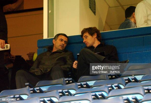Porto Coach Jose Mourinho at Chelsea to watch the game against Monaco with his scout Andre Villas Boas Andrea Villas