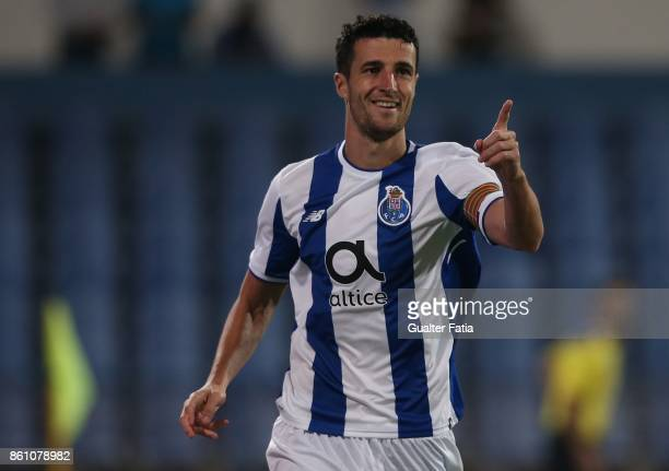 Porto defender Ivan Marcano from Spain celebrates after scoring a goal during the Portuguese Cup match between Lusitano Ginasio Clube and FC Porto at...