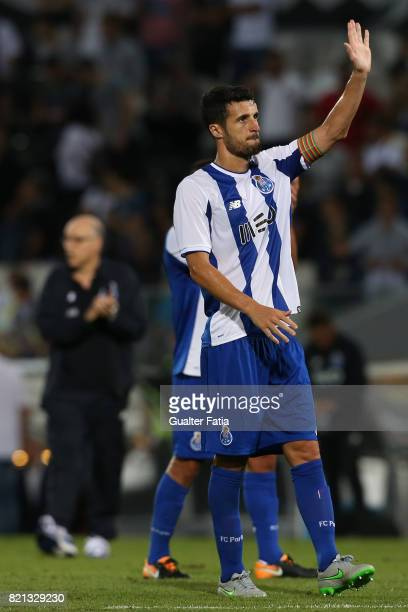 Porto defender Ivan Marcano from Spain celebrates with supporters at the end of the PreSeason Friendly match between Vitoria de Guimaraes and FC...