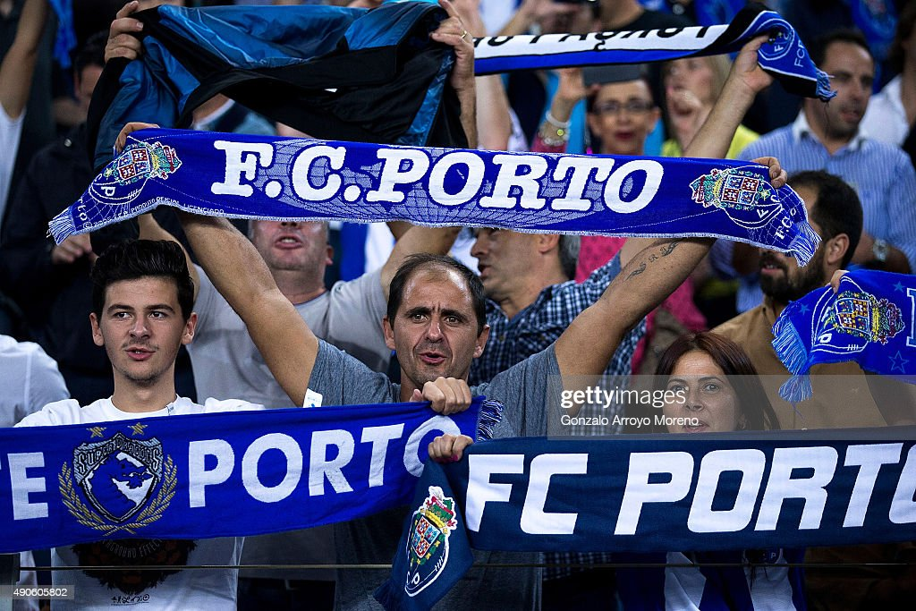 Porto fans cheer their team prior to start the UEFA Champions League Group G match between FC Porto and Chelsea FC at Estadio do Dragao on September...