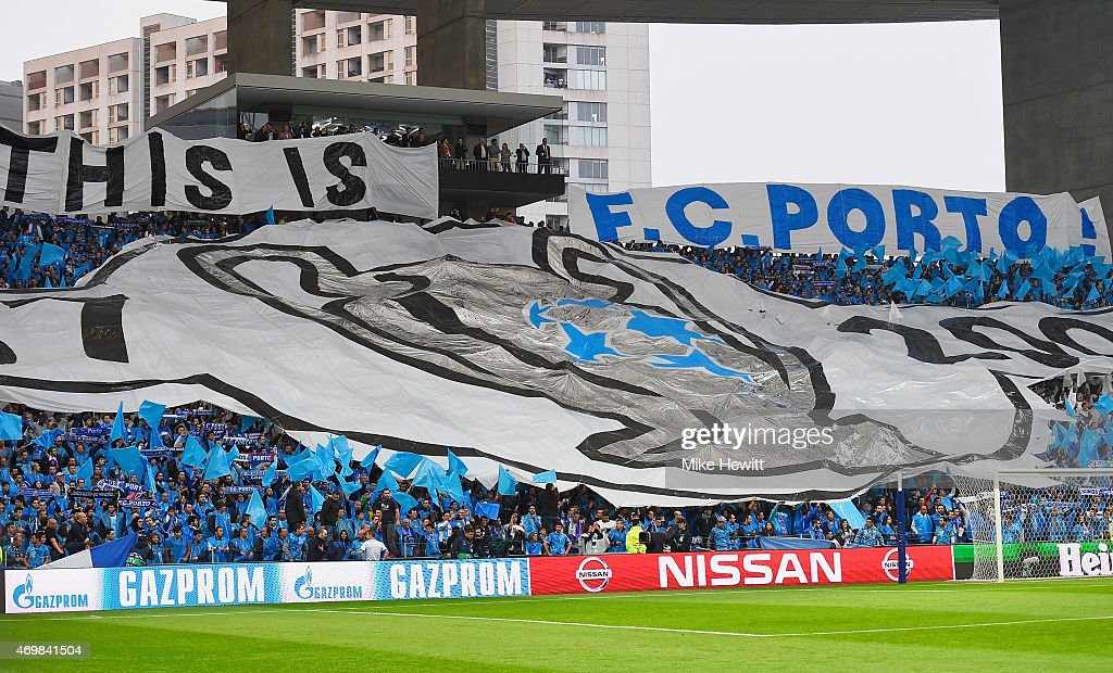 Porto fans show their support prior to the UEFA Champions League Quarter Final first leg match between FC Porto and FC Bayern Muenchen at Estadio do...