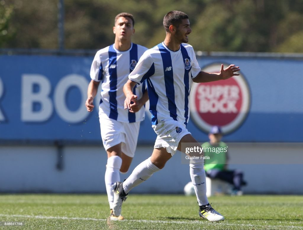 FC Porto forward Jorge Teixeira celebrates after scoring a goal during the UEFA Youth League match between FC Porto and Besiktas JK at Centro de Estagios do Olival on September 13, 2017 in Olival, Portugal.
