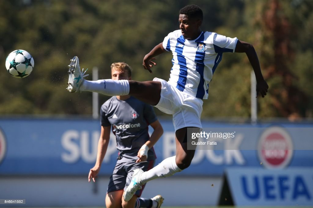 FC Porto forward Junior Joao Maleck Robles in action during the UEFA Youth League match between FC Porto and Besiktas JK at Centro de Estagios do Olival on September 13, 2017 in Olival, Portugal.